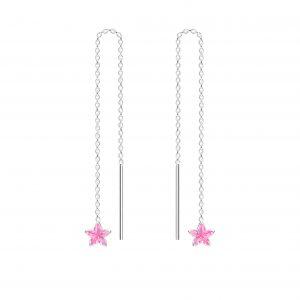 Wholesale 4mm Star Cubic Zirconia Silver Thread Through Earrings