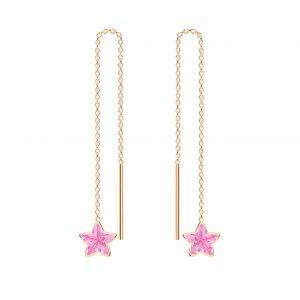 Wholesale 6mm Star Cubic Zirconia Silver Thread Through Earrings