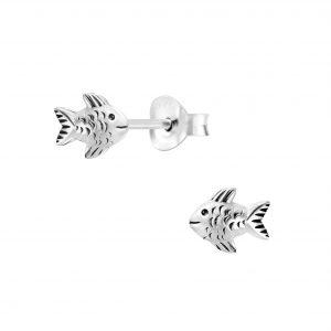 Wholesale Silver Fish Stud Earrings