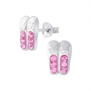 Wholesale Silver Ballerina Shoe Crystal Stud Earrings