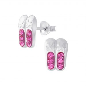 Wholesale Silver Ballerina Shoe Crystal Stud Earrings