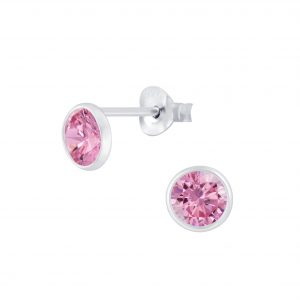 Wholesale 4mm Wrap Round Cubic Zirconia Silver Stud Earrings