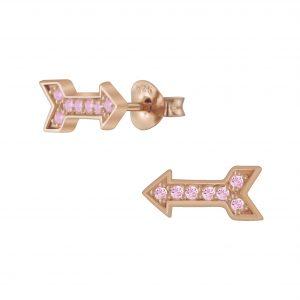 Wholesale Silver Arrow Cubic Zirconia Stud Earrings