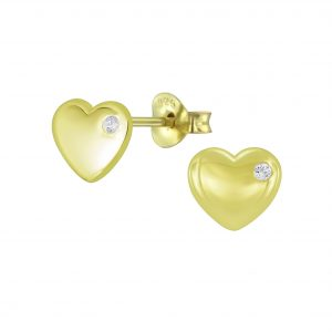 Wholesale Silver Heart Cubic Zirconia Stud Earrings