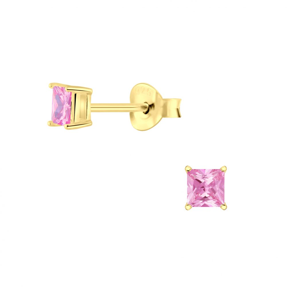 Wholesale 3mm Square Cubic Zirconia Silver Stud Earrings