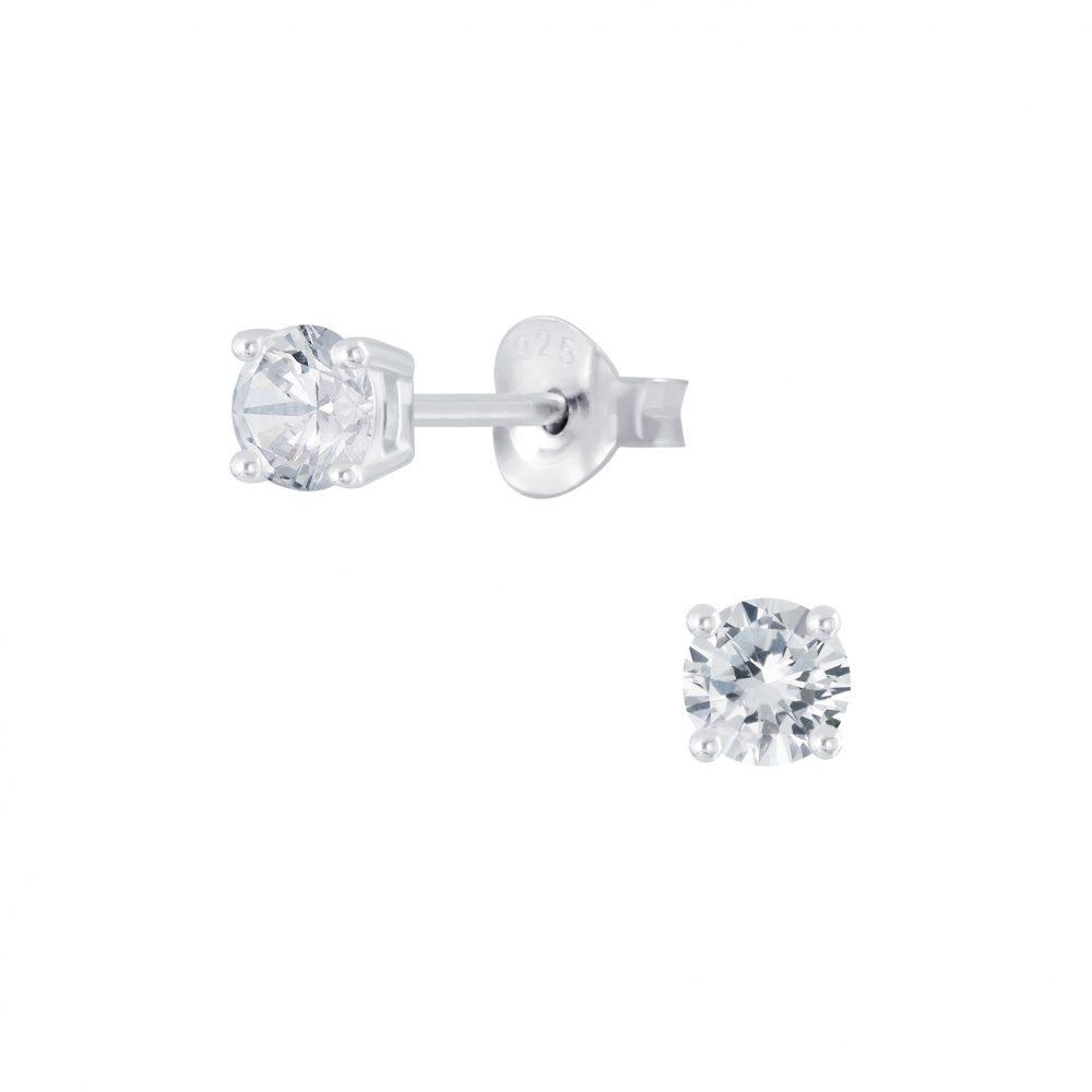 Wholesale 4mm Round Cubic Zirconia Silver Stud Earrings