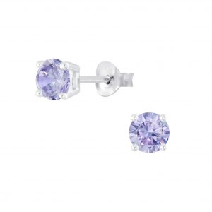 Wholesale 5mm Round Cubic Zirconia Silver Stud Earrings