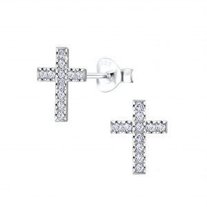 Wholesale Silver Cross Cubic Zirconia Stud Earring
