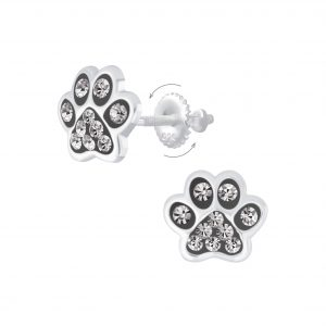 Wholesale Silver Paw Print Crystal Screw Back Earrings