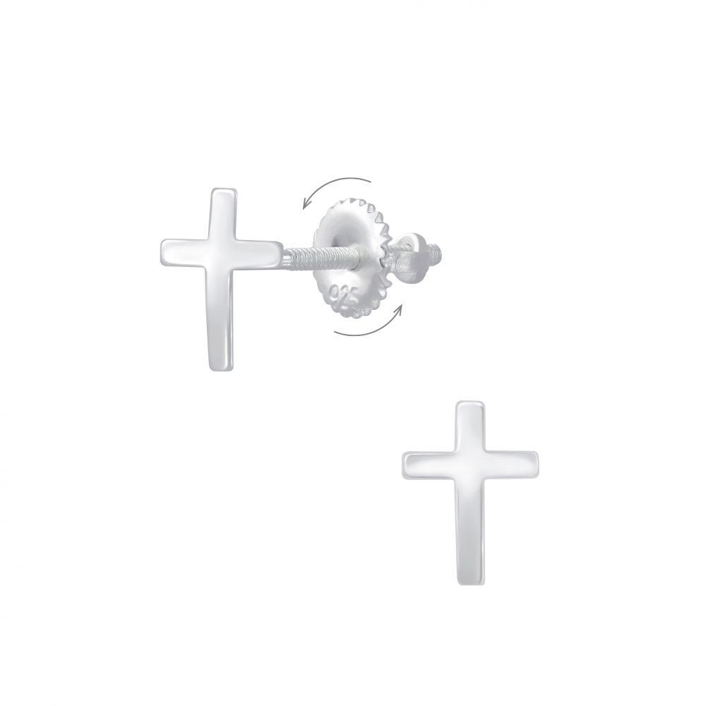 Wholesale Silver Cross Screw Back Earrings