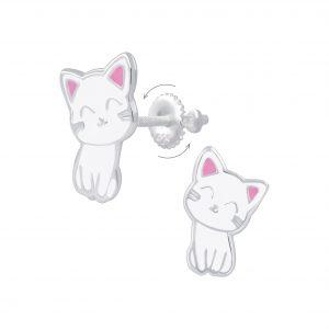 Wholesale Silver Cat Screw Back Earrings