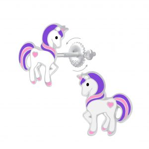 Wholesale Silver Unicorn Screw Back Earrings