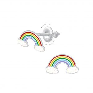 Wholesale Silver Rainbow Screw Back Earrings