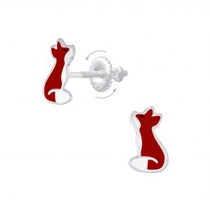 Wholesale Silver Fox Screw Back Earrings