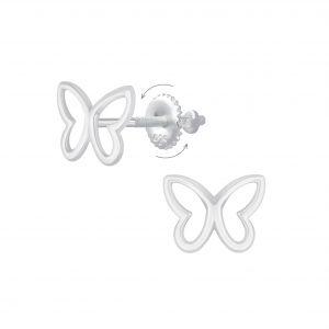 Wholesale Silver Butterfly Screw Back Earrings