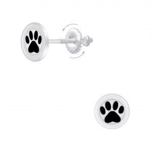 Wholesale Silver Paw Print Screw Back Earrings