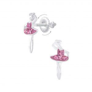 Wholesale Silver Ballerina Screw Back Earrings