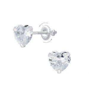 Wholesale 6mm Heart Cubic Zirconia Silver Screw Back Earrings