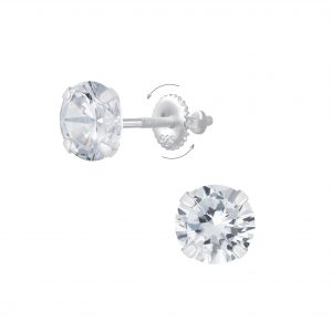 Wholesale 6mm Round Cubic Zirconia Silver Screw Back Earrings