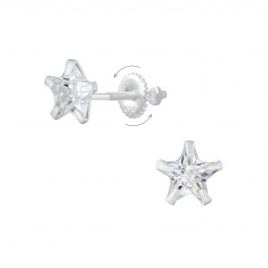 Wholesale 6mm Star Cubic Zirconia Silver Screw Back Earrings