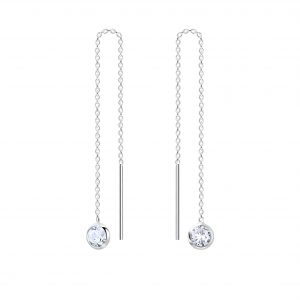 Wholesale 4mm Round Cubic Zirconia Silver Thread Through Earrings