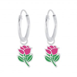 Wholesale Silver Rose Charm Hoop Earrings