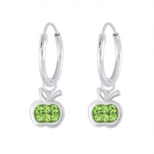 Wholesale Silver Apple Crystal Charm Hoop Earrings