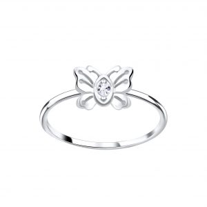 Wholesale Silver Butterfly Crystal Ring