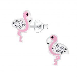 Wholesale Silver Flamingo Stud Earrings