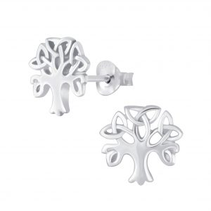 Wholesale Silver Celtic Tree Stud Earrings