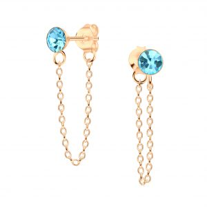 Wholesale 4mm Crystal Silver Stud Earrings with Chain