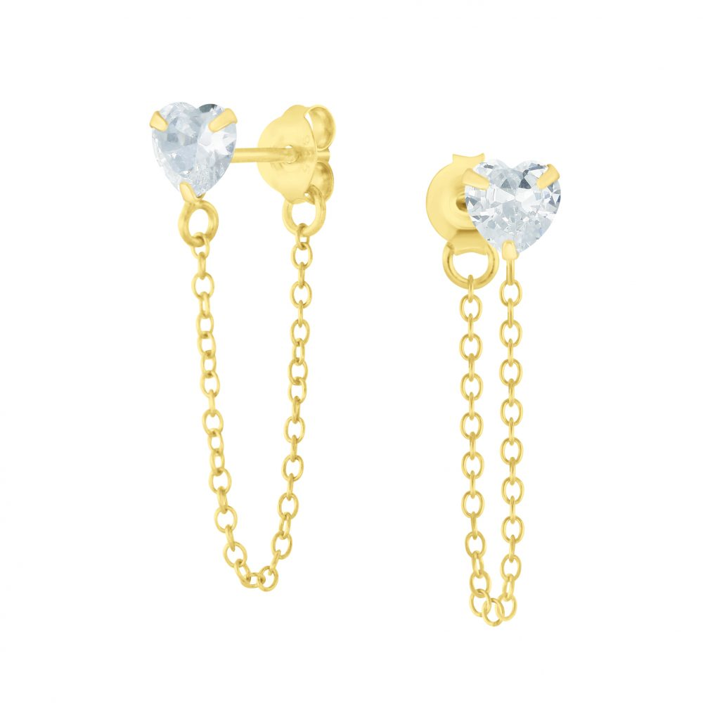 Wholesale 4mm Heart Cubic Zirconia Sliver Stud Earrings with Chain