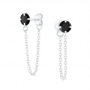 Wholesale 4mm Round Cubic Zirconia Sliver Stud Earrings with Chain