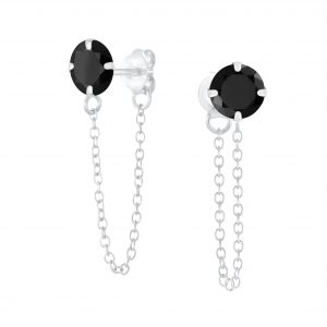 Wholesale 6mm Round Cubic Zirconia Sliver Stud Earrings with Chain