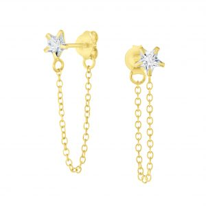 Wholesale 4mm Star Cubic Zirconia Sliver Stud Earrings with Chain