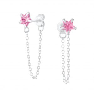 Wholesale 6mm Star Cubic Zirconia Sliver Stud Earrings with Chain