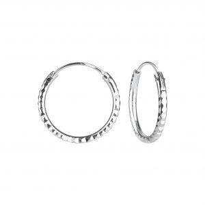 Wholesale 16mm Silver Diamond Cut Hoops