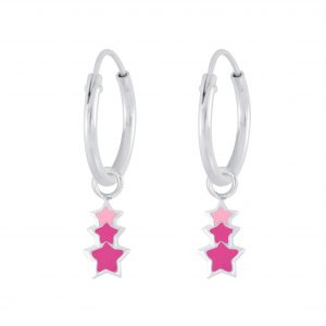 Wholesale Silver Triple Star Charm Hoop Earrings