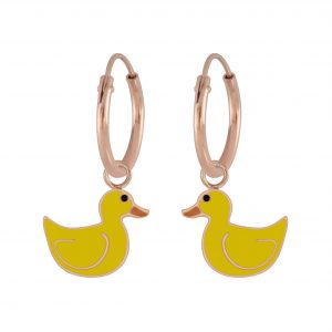 Wholesale Silver Duck Charm Hoop Earrings