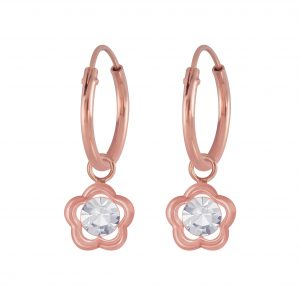 Wholesale Silver Flower Charm Hoop Earrings