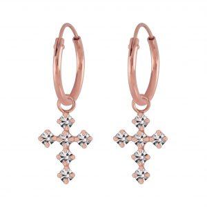 Wholesale Silver Cross Crystal Charm Hoop Earrings