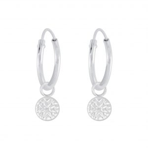 Wholesale Silver Patterned Charm Hoop Earrings