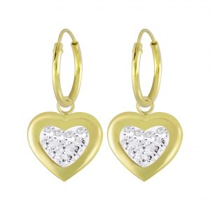 Wholesale Silver Heart Crystal Charm Hoop Earrings