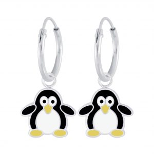 Wholesale Silver Penguin Charm Hoop Earrings