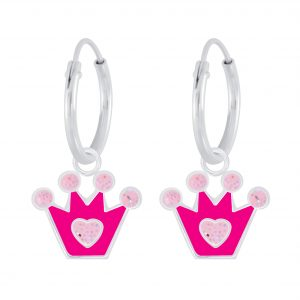 Wholesale Silver Crown Charm Hoop Earrings