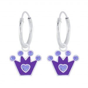 Wholesale Silver Crown Charm Hoop Earrings