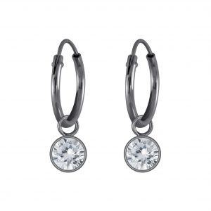 Wholesale 4mm Round Cubic Zirconia Silver Charm Hoop Earrings