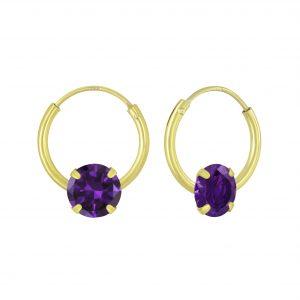 Wholesale 4mm Round Cubic Zirconia Silver Hoop Earrings