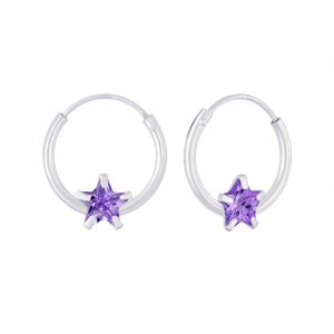 Wholesale 4mm Star Cubic Zirconia Silver Hoop Earrings