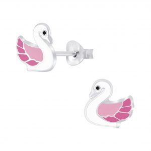 Wholesale Silver Swan Stud Earrings